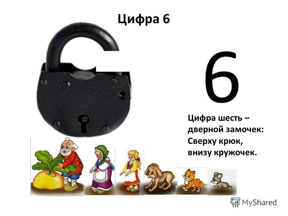 6 Цифра 6 Цифра шесть – дверной замочек: Сверху крюк, внизу кружочек.