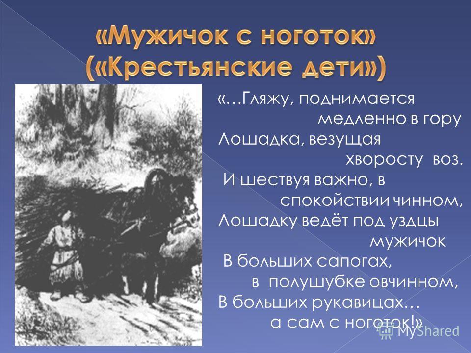«…Гляжу, поднимается медленно в гору Лошадка, везущая хворосту воз. И шествуя важно, в спокойствии чинном, Лошадку ведёт под уздцы мужичок В больших сапогах, в полушубке овчинном, В больших рукавицах… а сам с ноготок!»