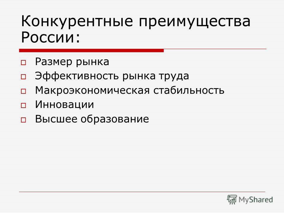 Конкурентные преимущества России: Размер рынка Эффективность рынка труда Макроэкономическая стабильность Инновации Высшее образование