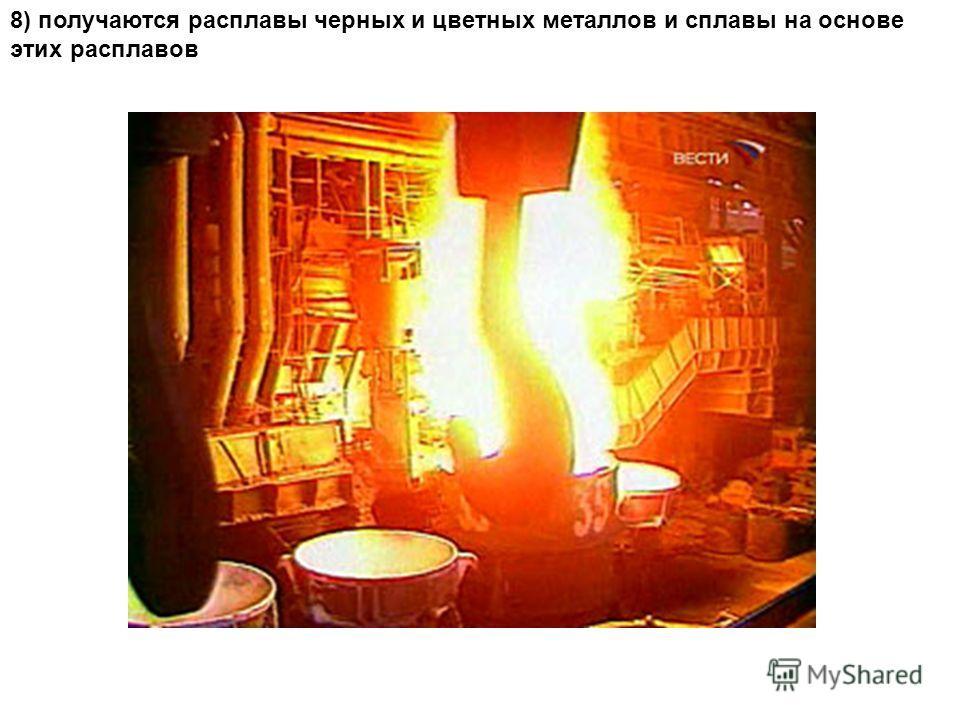 8) получаются расплавы черных и цветных металлов и сплавы на основе этих расплавов