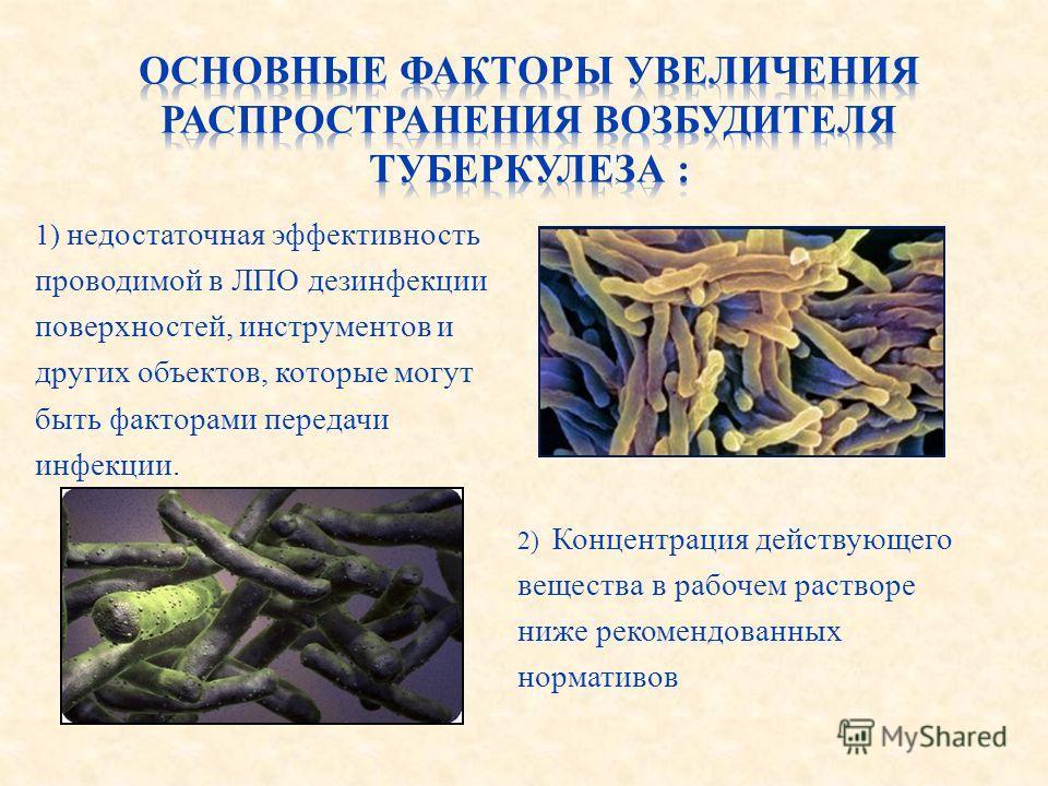 2) Концентрация действующего вещества в рабочем растворе ниже рекомендованных нормативов 1) недостаточная эффективность проводимой в ЛПО дезинфекции поверхностей, инструментов и других объектов, которые могут быть факторами передачи инфекции.