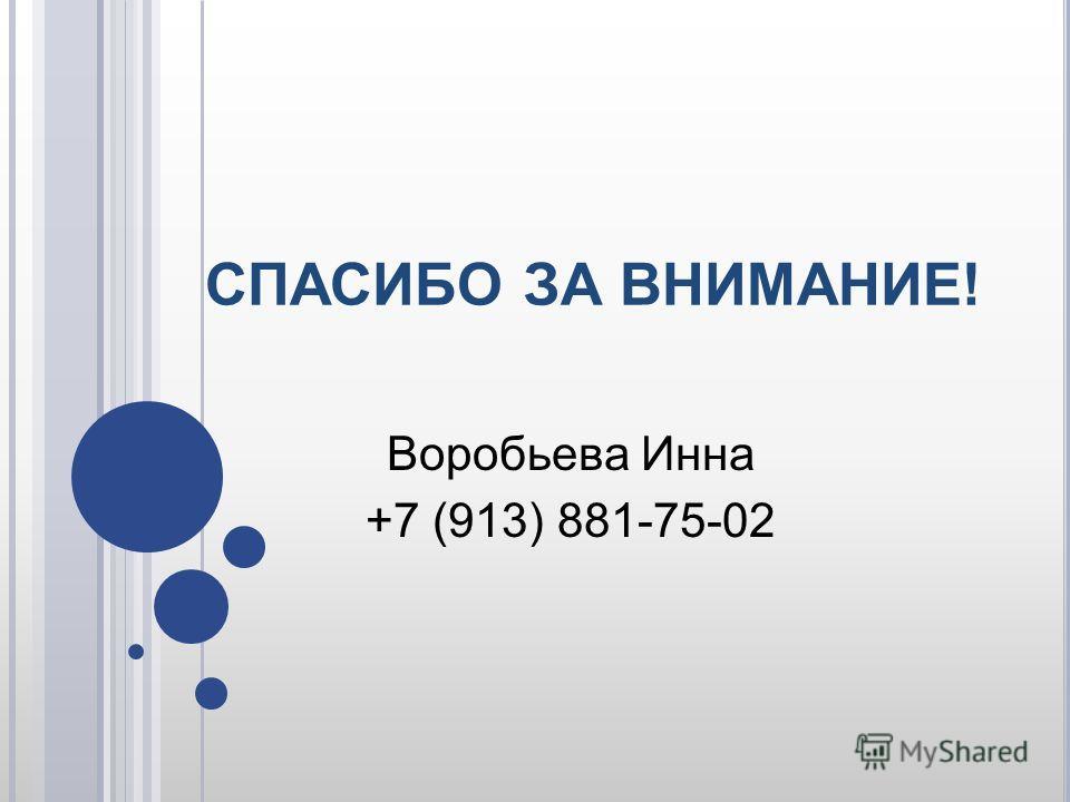 СПАСИБО ЗА ВНИМАНИЕ! Воробьева Инна +7 (913) 881-75-02