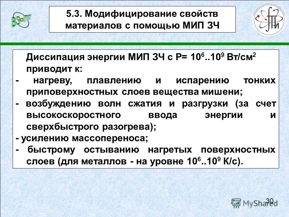 Диссипация энергии МИП ЗЧ с P= 10 6..10 9 Вт/см 2 приводит к: - нагреву, плавлению и испарению тонких приповерхностных слоев вещества мишени; - возбуждению волн сжатия и разгрузки (за счет высокоскоростного ввода энергии и сверхбыстрого разогрева); -