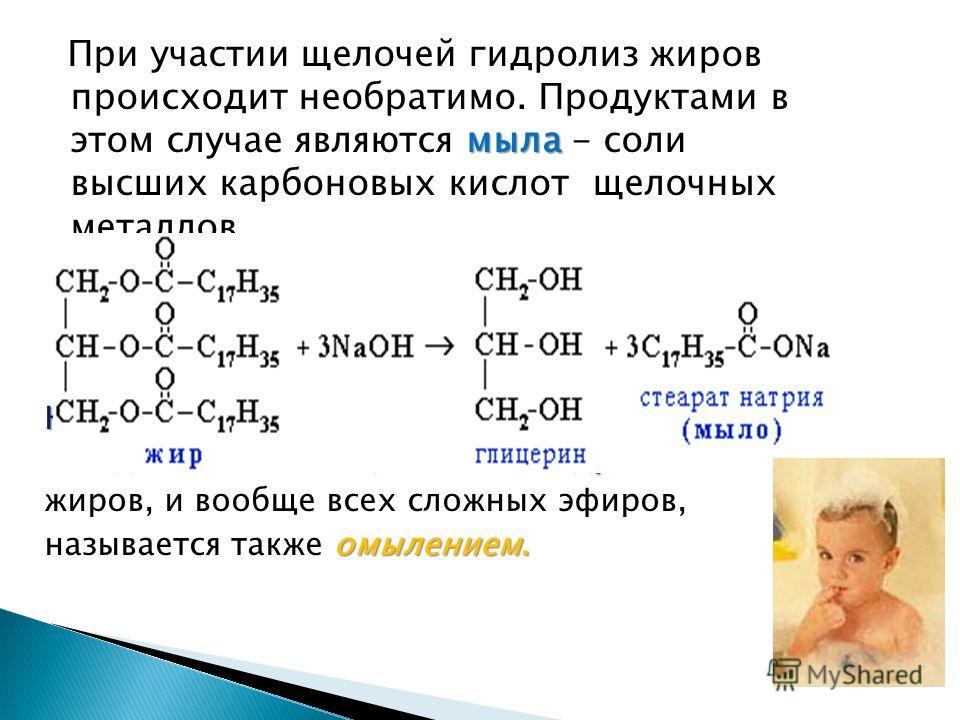 мыла При участии щелочей гидролиз жиров происходит необратимо. Продуктами в этом случае являются мыла - соли высших карбоновых кислот щелочных металлов. Натриевые соли - твердые мылакалиевые - жидкие.щелочного гидролиза Натриевые соли - твердые мыла,