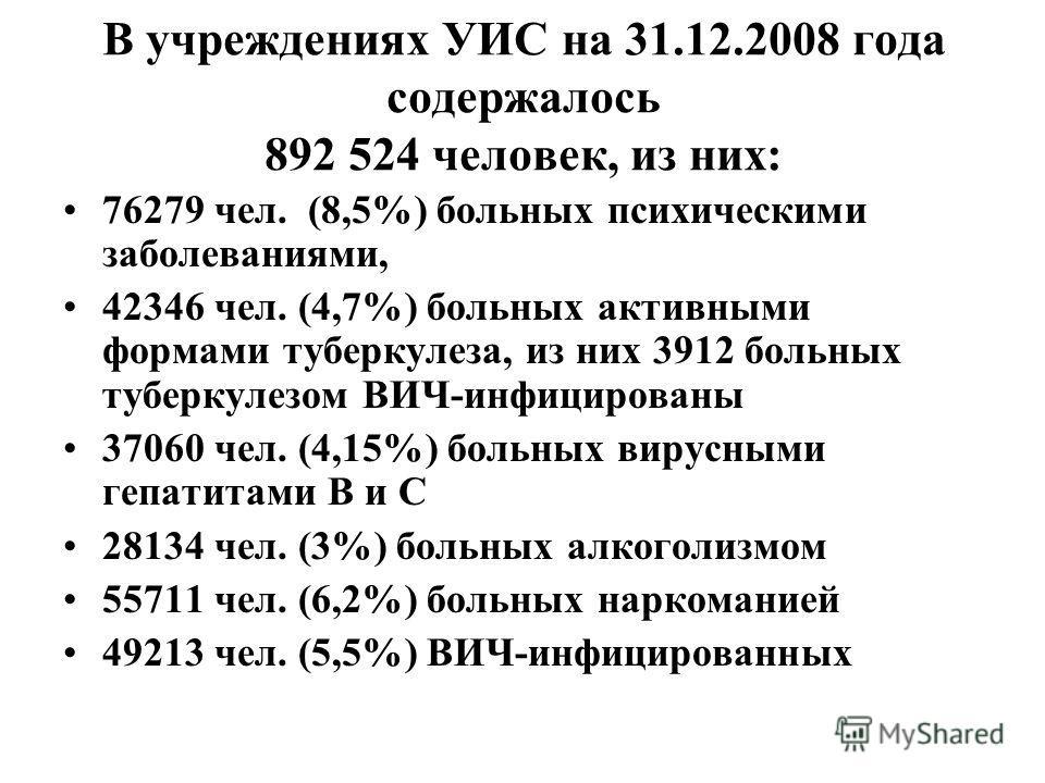 В учреждениях УИС на 31.12.2008 года содержалось 892 524 человек, из них: 76279 чел. (8,5%) больных психическими заболеваниями, 42346 чел. (4,7%) больных активными формами туберкулеза, из них 3912 больных туберкулезом ВИЧ-инфицированы 37060 чел. (4,1