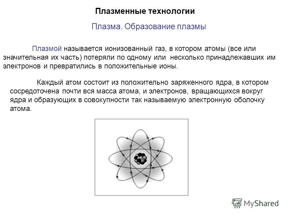 Плазменные технологии Плазма. Образование плазмы Каждый атом состоит из положительно заряженного ядра, в котором сосредоточена почти вся масса атома, и электронов, вращающихся вокруг ядра и образующих в совокупности так называемую электронную оболочк