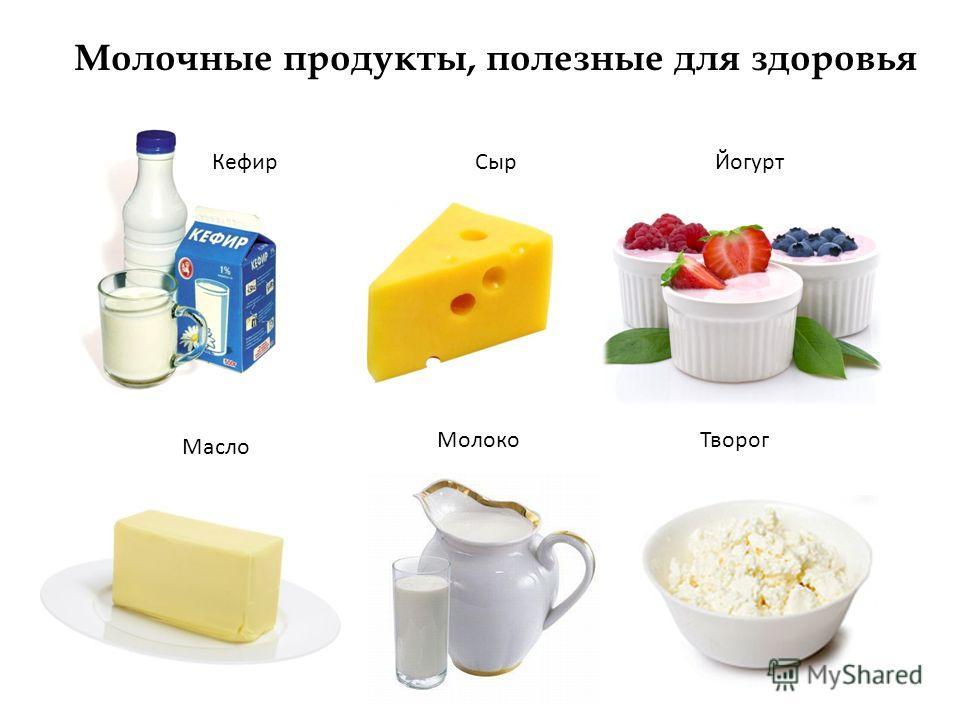 Молочные продукты, полезные для здоровья КефирСырЙогурт Масло МолокоТворог