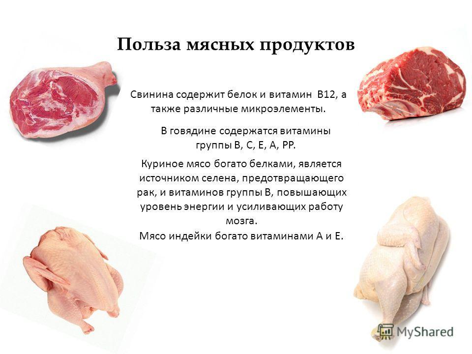 Польза мясных продуктов Свинина содержит белок и витамин В12, а также различные микроэлементы. В говядине содержатся витамины группы В, С, Е, А, РР. Куриное мясо богато белками, является источником селена, предотвращающего рак, и витаминов группы B,