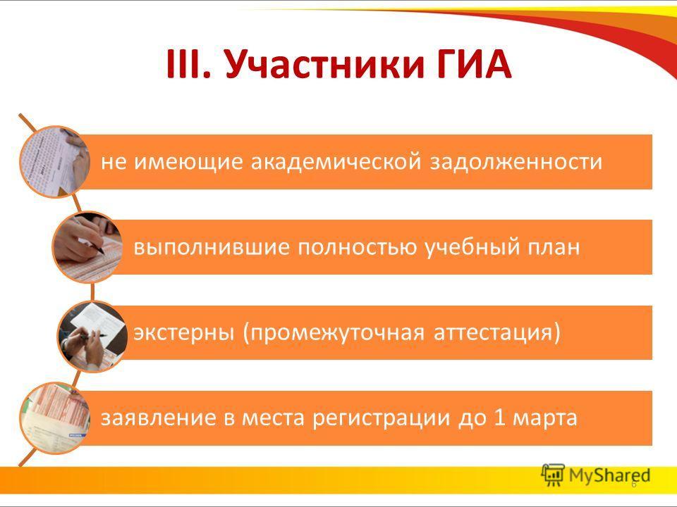 III. Участники ГИА 6 не имеющие академической задолженности выполнившие полностью учебный план экстерны (промежуточная аттестация) заявление в места регистрации до 1 марта