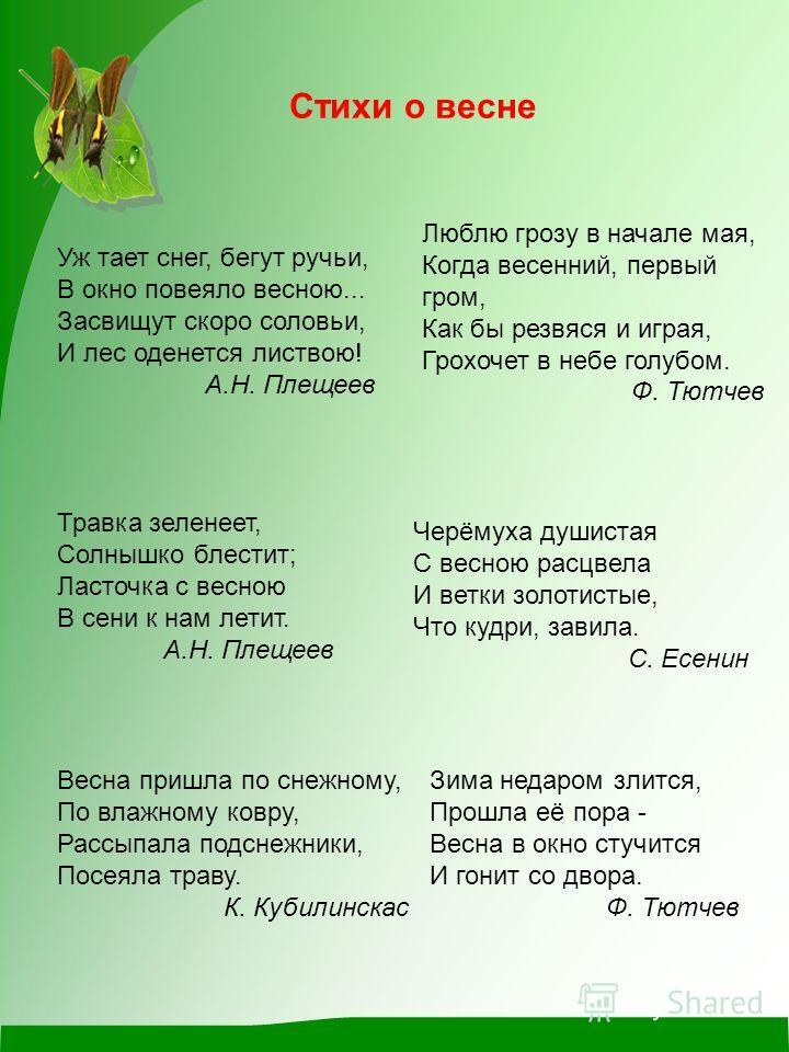 Черёмуха душистая С весною расцвела И ветки золотистые, Что кудри, завила. С. Есенин Уж тает снег, бегут ручьи, В окно повеяло весною... Засвищут скоро соловьи, И лес оденется листвою! А.Н. Плещеев Люблю грозу в начале мая, Когда весенний, первый гро