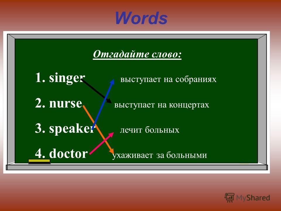Words Отгадайте слово: 1.singer выступает на собраниях 2.nurse выступает на концертах 3.speaker лечит больных 4.doctor ухаживает за больными