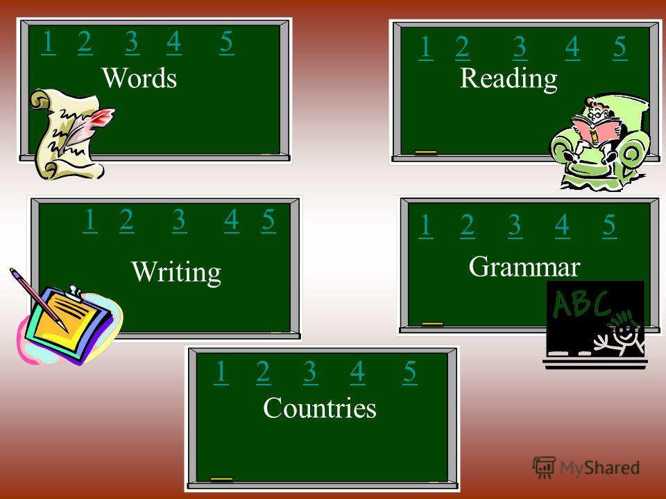 WordsReading Writing Grammar Countries 12345 12345 12345 12345 12345