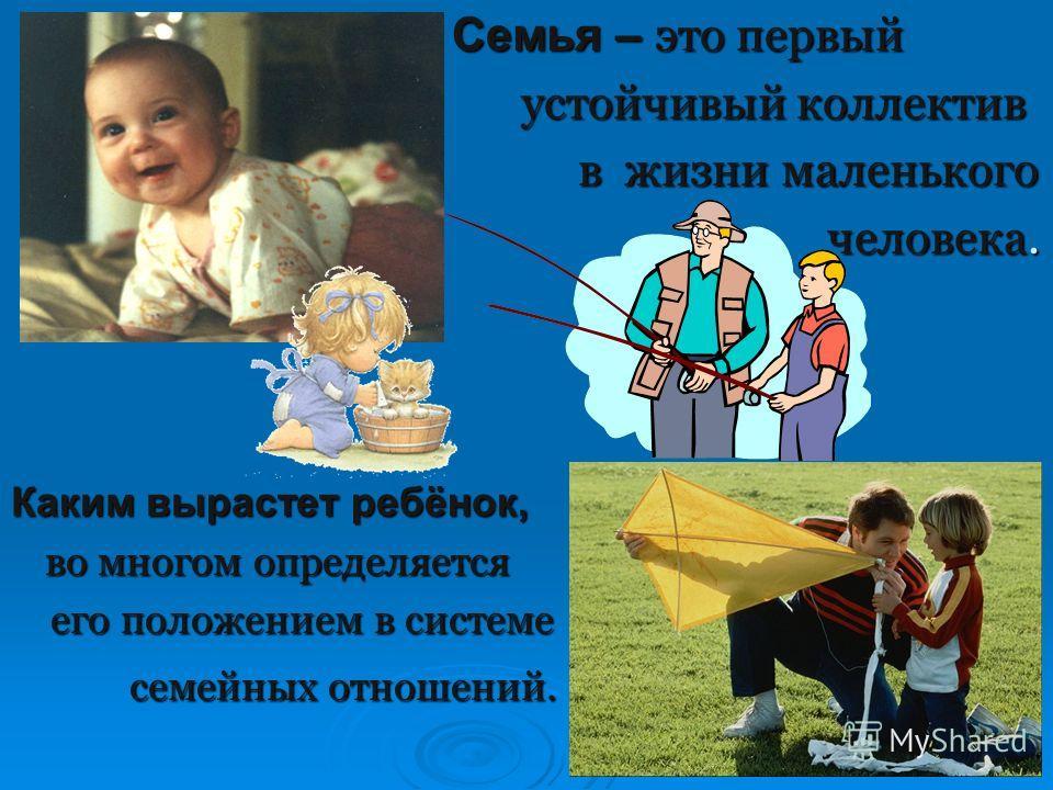 Семья – это первый устойчивый коллектив в жизни маленького человека. Каким вырастет ребёнок, во многом определяется его положением в системе семейных отношений.