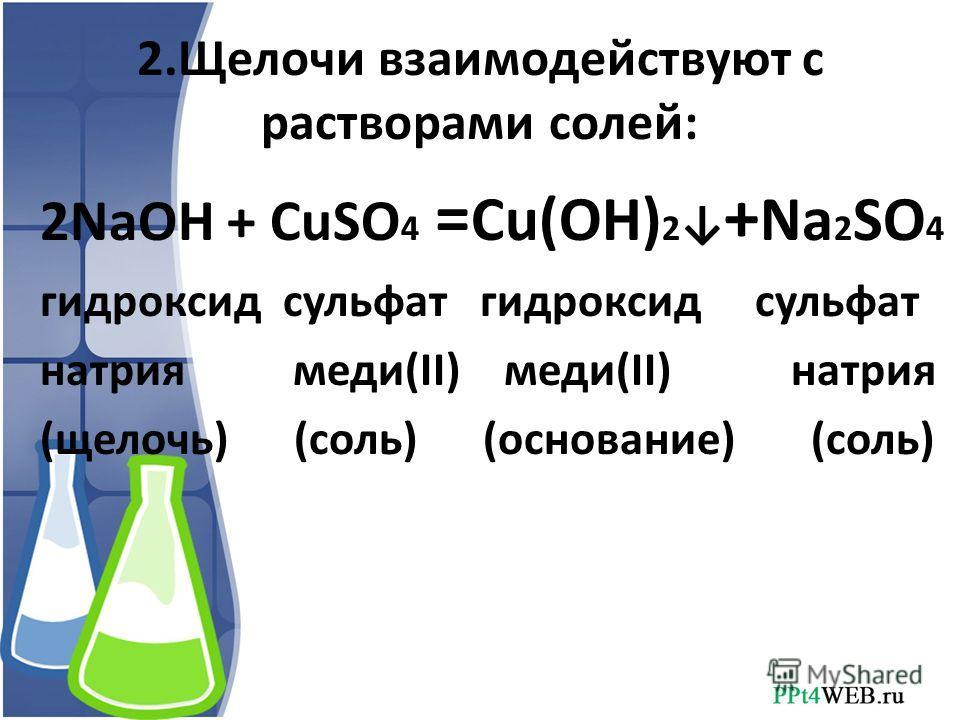 2.Щелочи взаимодействуют с растворами солей: 2NaOH + CuSO 4 = Cu(OH) 2 + Na 2 SO 4 гидроксид сульфат натрия меди(II) меди(II) натрия (щелочь) (соль) (основание) (соль)