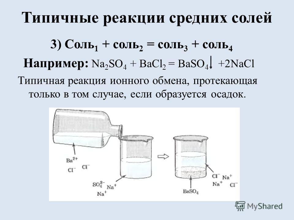 Типичные реакции средних солей 3) Соль 1 + соль 2 = соль 3 + соль 4 Например: Na 2 SO 4 + BaCl 2 = BaSO 4 +2NaCl Типичная реакция ионного обмена, протекающая только в том случае, если образуется осадок.