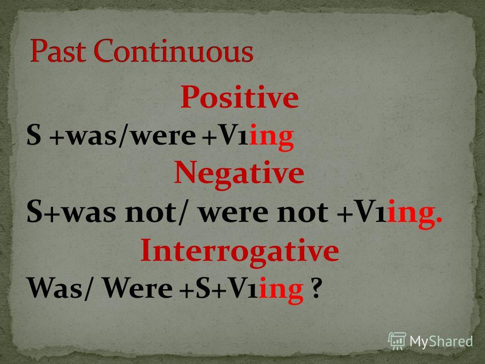 Positive S +was/were +V1ing Negative S+was not/ were not +V1ing. Interrogative Was/ Were +S+V1ing ?