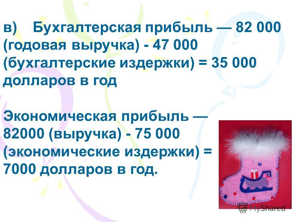 в)Бухгалтерская прибыль 82 000 (годовая выручка) - 47 000 (бухгалтерские издержки) = 35 000 долларов в год Экономическая прибыль 82000 (выручка) - 75 000 (экономические издержки) = 7000 долларов в год.