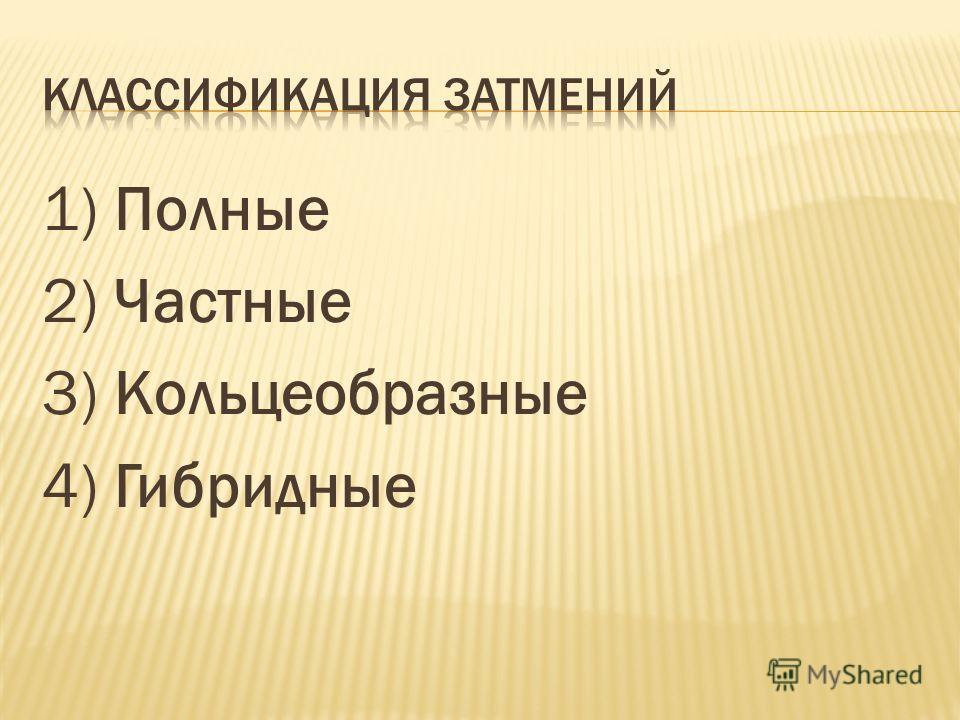 1) Полные 2) Частные 3) Кольцеобразные 4) Гибридные