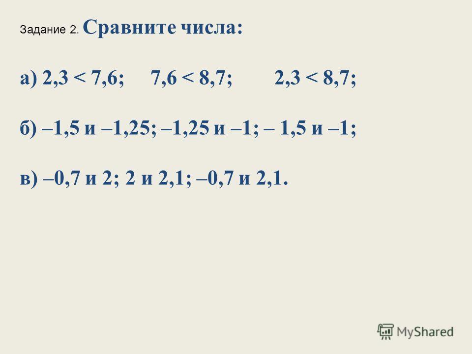 Задание 2. Сравните числа: а) 2,3 < 7,6; 7,6 < 8,7; 2,3 < 8,7; б) –1,5 и –1,25; –1,25 и –1; – 1,5 и –1; в) –0,7 и 2; 2 и 2,1; –0,7 и 2,1.