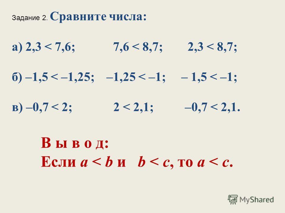 Задание 2. Сравните числа: а) 2,3 < 7,6; 7,6 < 8,7; 2,3 < 8,7; б) –1,5 < –1,25; –1,25 < –1; – 1,5 < –1; в) –0,7 < 2; 2 < 2,1; –0,7 < 2,1. В ы в о д: Если а < b и b < с, то а < с.
