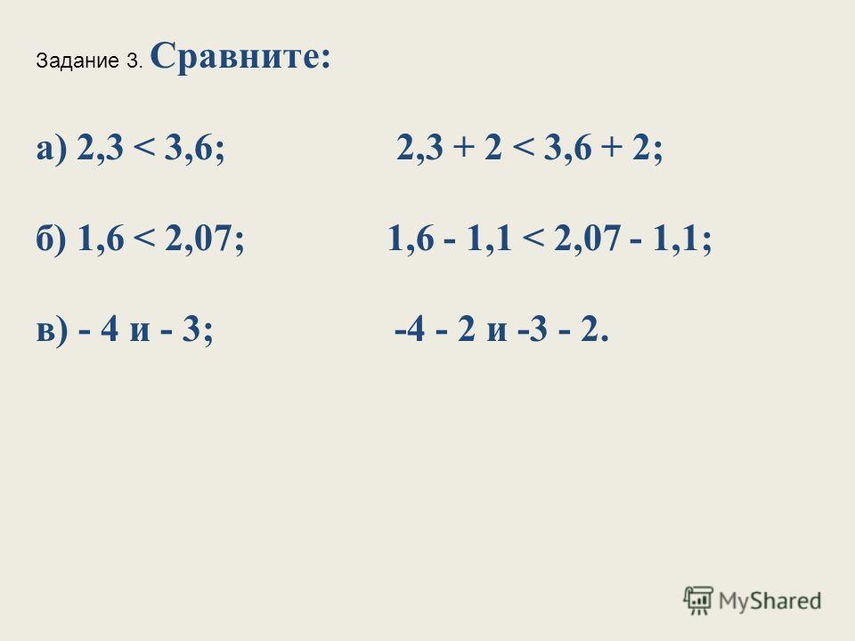 Задание 3. Сравните: а) 2,3 < 3,6; 2,3 + 2 < 3,6 + 2; б) 1,6 < 2,07; 1,6 - 1,1 < 2,07 - 1,1; в) - 4 и - 3; -4 - 2 и -3 - 2.