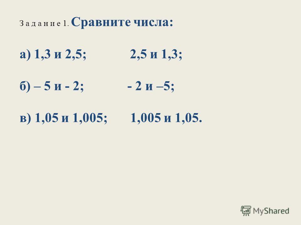 З а д а н и е 1. Сравните числа: а) 1,3 и 2,5; 2,5 и 1,3; б) – 5 и - 2; - 2 и –5; в) 1,05 и 1,005; 1,005 и 1,05.