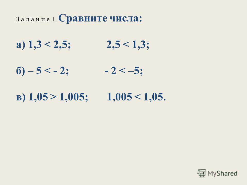 З а д а н и е 1. Сравните числа: а) 1,3 1,005; 1,005 < 1,05.