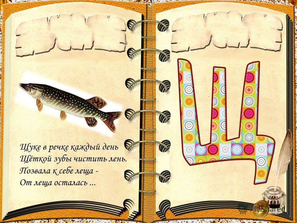 Щуке в речке каждый день Щёткой зубы чистить лень. Позвала к себе леща - От леща осталась...
