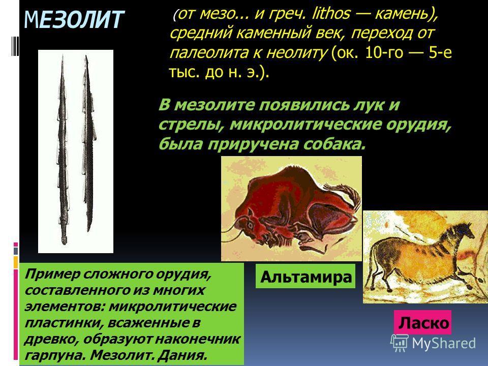 МЕЗОЛИТ ( от мезо... и греч. lithos камень), средний каменный век, переход от палеолита к неолиту (ок. 10-го 5-е тыс. до н. э.). Пример сложного орудия, составленного из многих элементов: микролитические пластинки, всаженные в древко, образуют наконе