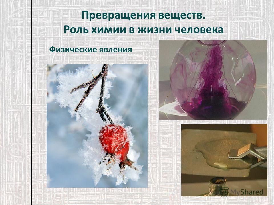 Физические явления Превращения веществ. Роль химии в жизни человека