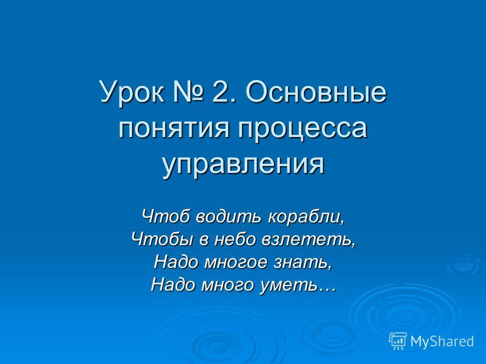 Урок 2. Основные понятия процесса управления Чтоб водить корабли, Чтобы в небо взлететь, Надо многое знать, Надо много уметь…