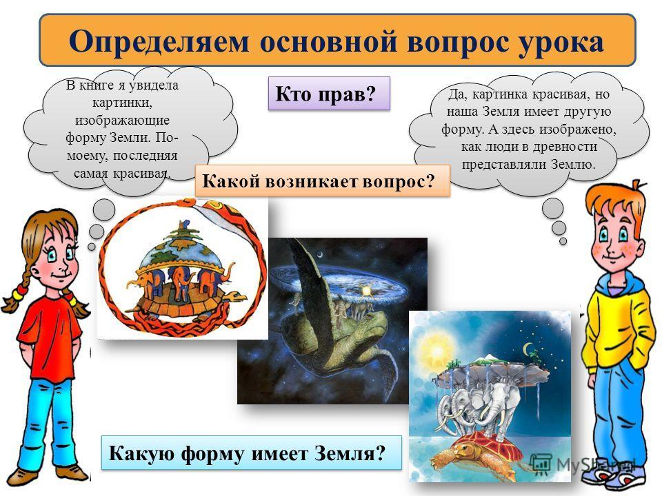 Определяем основной вопрос урока В книге я увидела картинки, изображающие форму Земли. По- моему, последняя самая красивая. Да, картинка красивая, но наша Земля имеет другую форму. А здесь изображено, как люди в древности представляли Землю. Кто прав