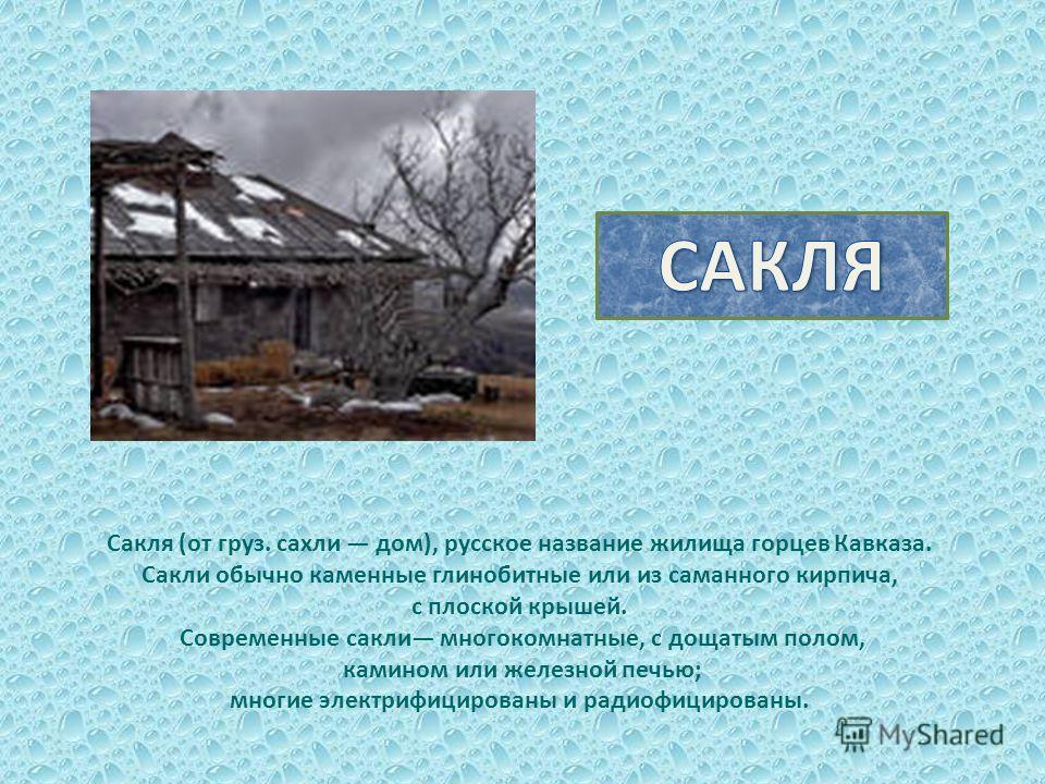 Сакля (от груз. сахли дом), русское название жилища горцев Кавказа. Сакли обычно каменные глинобитные или из саманного кирпича, с плоской крышей. Современные сакли многокомнатные, с дощатым полом, камином или железной печью; многие электрифицированы