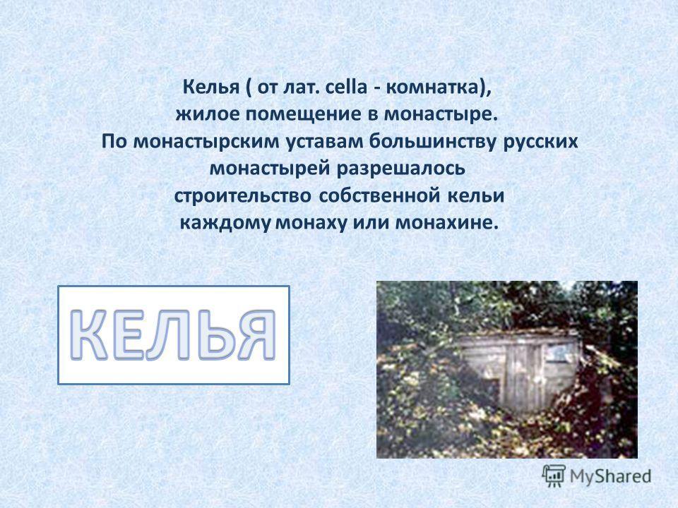 Келья ( от лат. cella - комнатка), жилое помещение в монастыре. По монастырским уставам большинству русских монастырей разрешалось строительство собственной кельи каждому монаху или монахине.