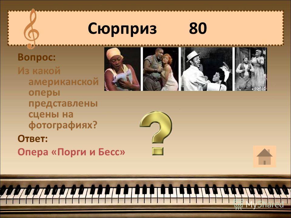 Вопрос: Из какой американской оперы представлены сцены на фотографиях? Ответ: Опера «Порги и Бесс» Сюрприз 80