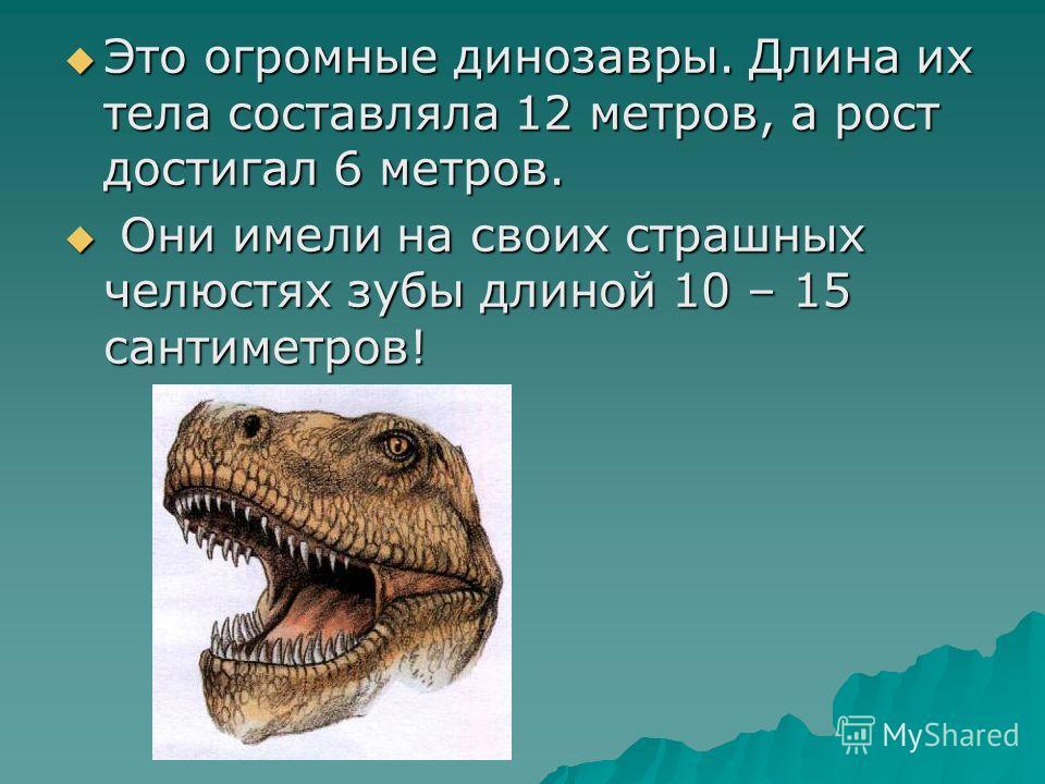 Это огромные динозавры. Длина их тела составляла 12 метров, а рост достигал 6 метров. Это огромные динозавры. Длина их тела составляла 12 метров, а рост достигал 6 метров. Они имели на своих страшных челюстях зубы длиной 10 – 15 сантиметров! Они имел