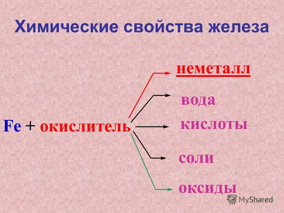 Химические свойства железа Fe + окислитель оксиды неметалл вода кислоты соли