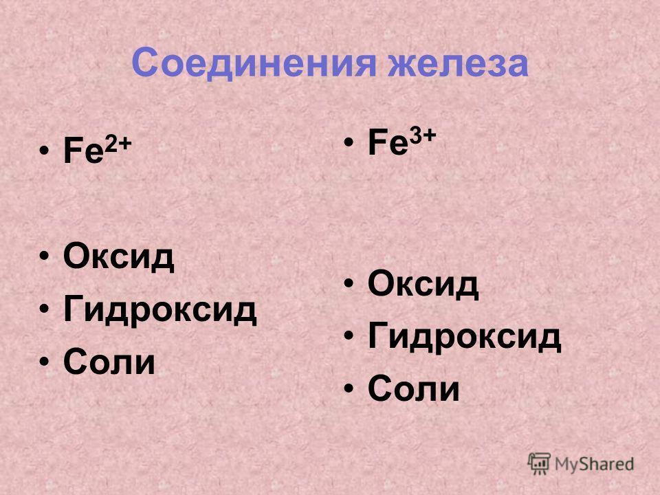 Соединения железа Fe 2+ Оксид Гидроксид Соли Fe 3+ Оксид Гидроксид Соли