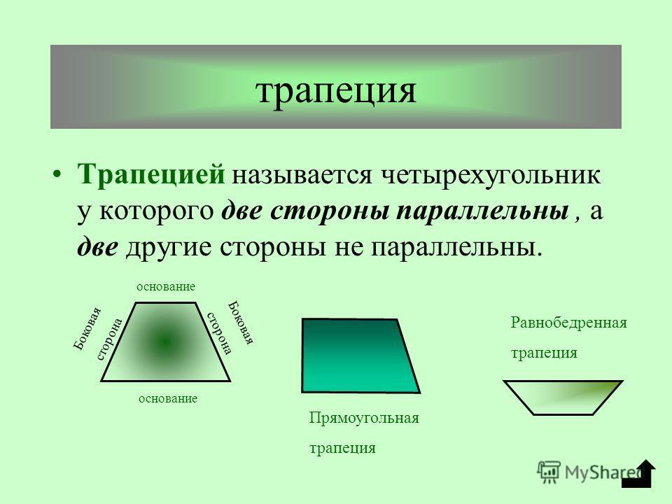 Признаки параллелограмма 1. Если в четырехугольнике 2 стороны равны параллельны, то этот прямоугольник параллелограмм. 2. Если в четырехугольнике противоположные стороны попарно равны, то этот четырехугольник параллелограмм. 3. Если в четырехугольник