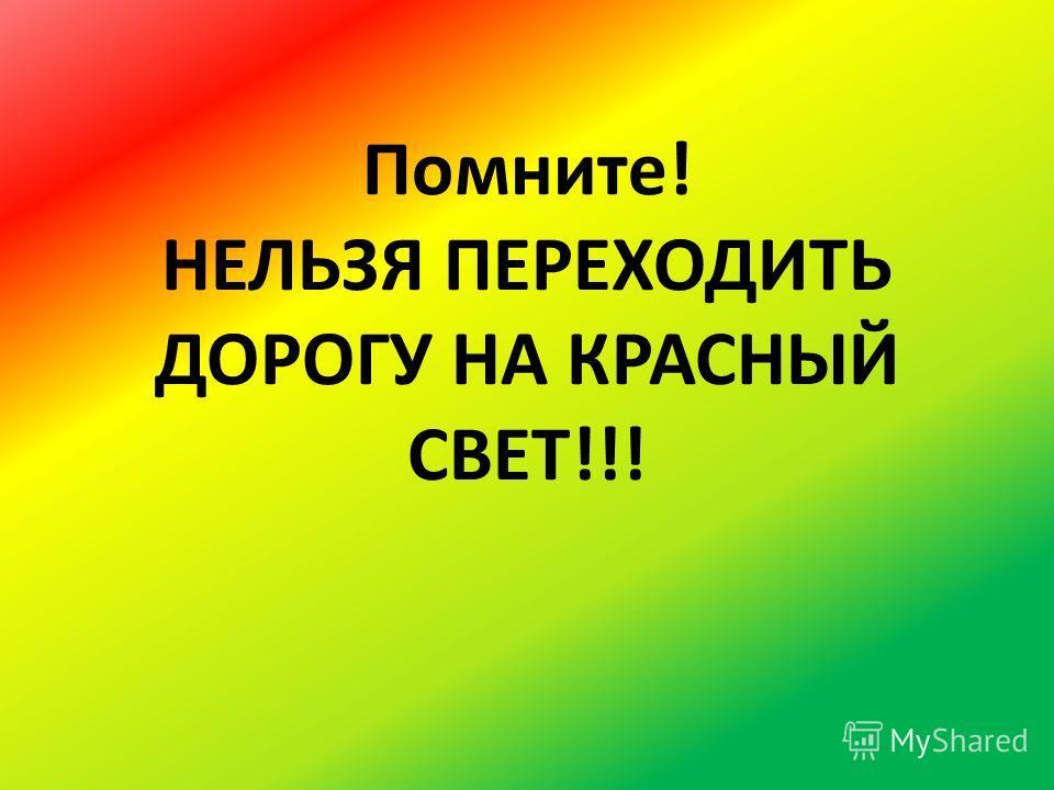 Помните! НЕЛЬЗЯ ПЕРЕХОДИТЬ ДОРОГУ НА КРАСНЫЙ СВЕТ!!!