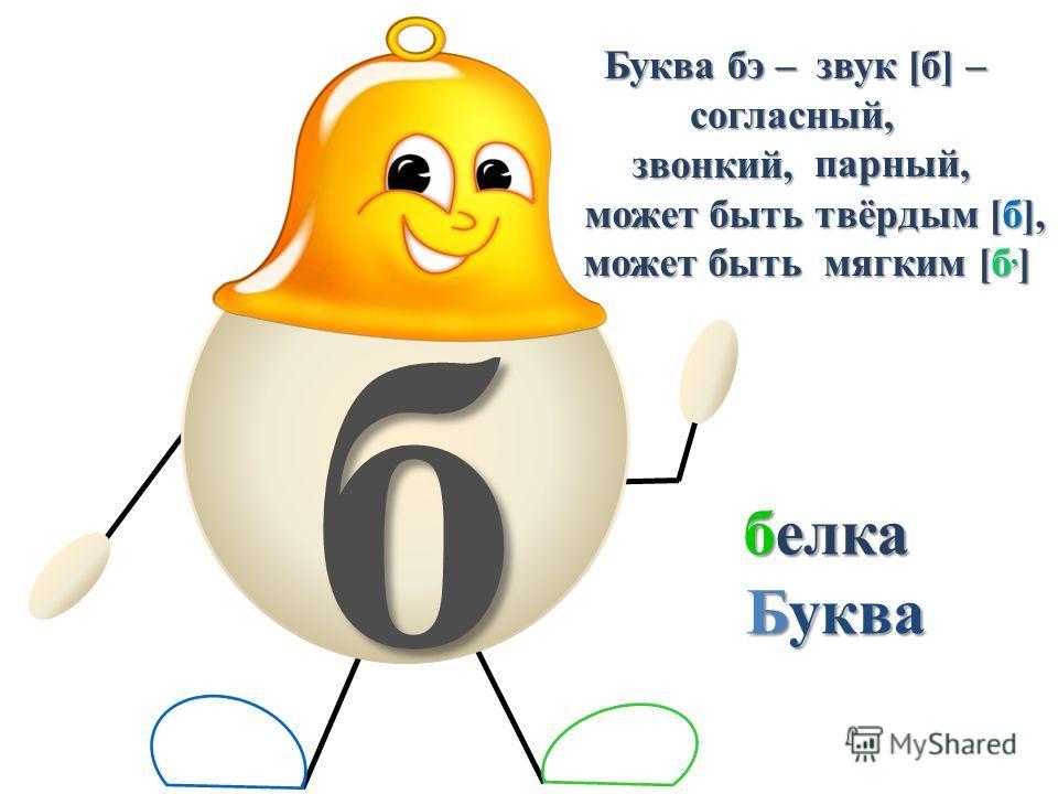 б белка Буква бэ – звук [б] – согласный, звонкий,парный, может быть твёрдым [б], может быть мягким [б, ] Буква