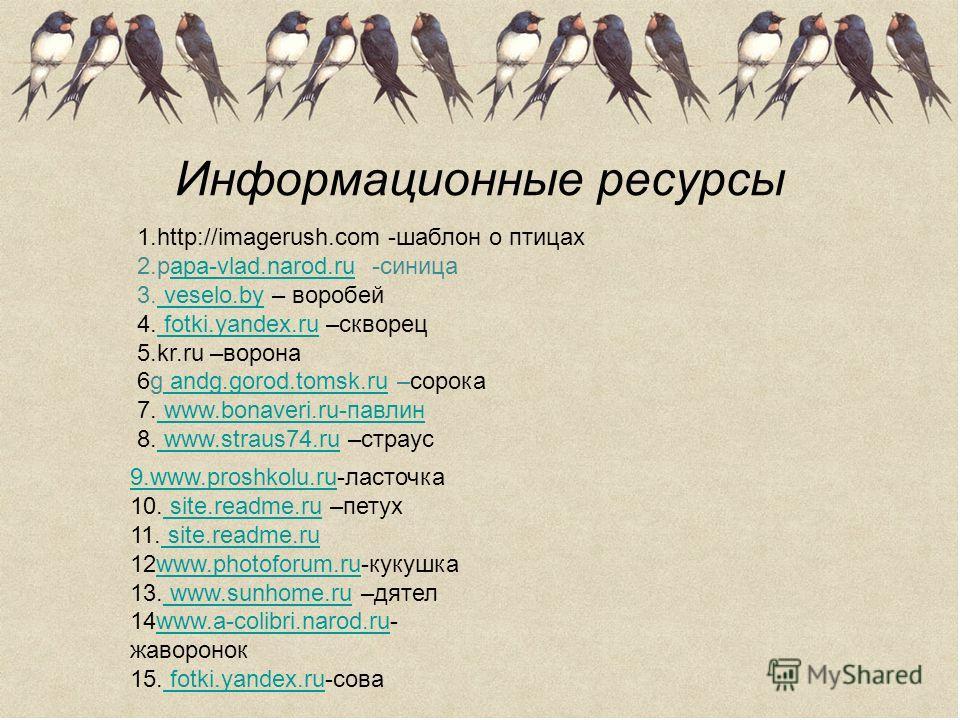 Информационные ресурсы 1.http://imagerush.cоm -шаблон о птицах 2.papa-vlad.narod.ru -синицаapa-vlad.narod.ru 3. veselo.by – воробей veselo.by 4. fotki.yandex.ru –скворец fotki.yandex.ru 5.kr.ru –ворона 6g andg.gorod.tomsk.ru –сорока andg.gorod.tomsk.