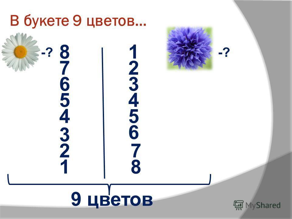 В букете 9 цветов… -? 9 цветов 81 72 63 54 4 3 5 2 6 7 18