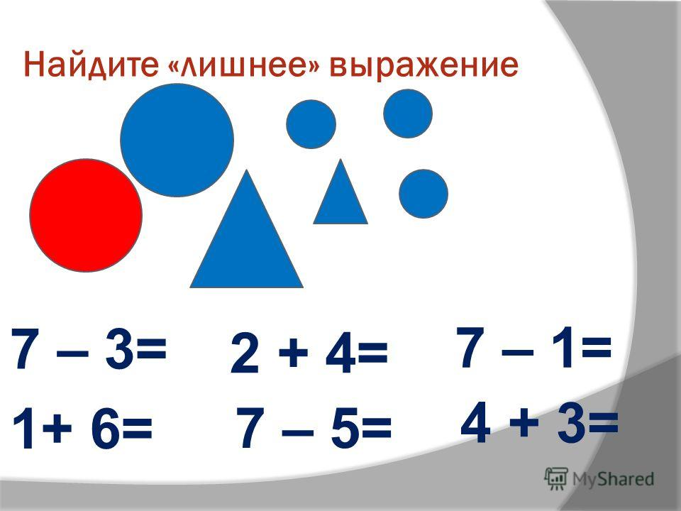 Найдите «лишнее» выражение 4 + 3= 1+ 6= 2 + 4= 7 – 5= 7 – 1= 7 – 3=