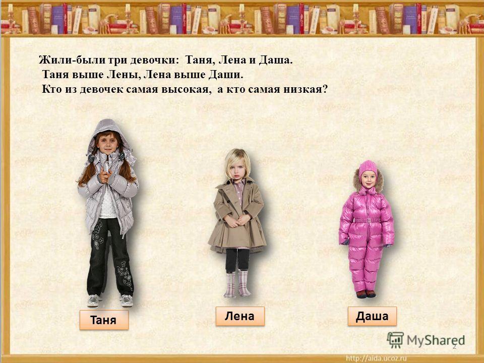 Жили-были три девочки: Таня, Лена и Даша. Таня выше Лены, Лена выше Даши. Кто из девочек самая высокая, а кто самая низкая? Таня Лена Даша