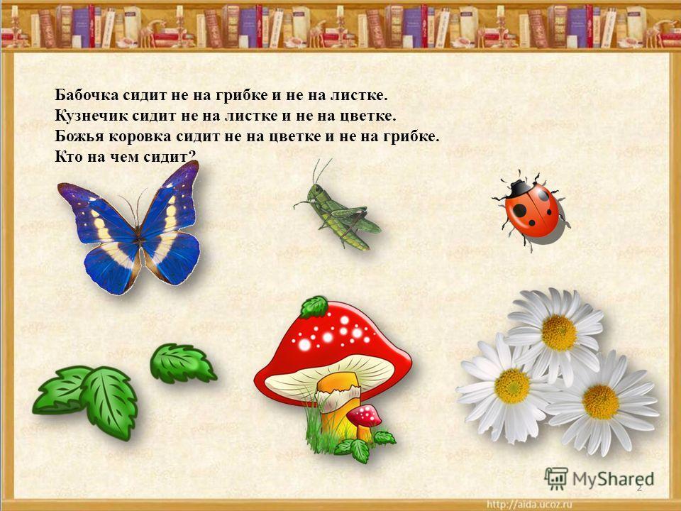 Бабочка сидит не на грибке и не на листке. Кузнечик сидит не на листке и не на цветке. Божья коровка сидит не на цветке и не на грибке. Кто на чем сидит?
