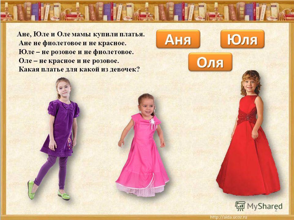 Ане, Юле и Оле мамы купили платья. Ане не фиолетовое и не красное. Юле – не розовое и не фиолетовое. Оле – не красное и не розовое. Какая платье для какой из девочек? АняАня ОляОля ЮляЮля
