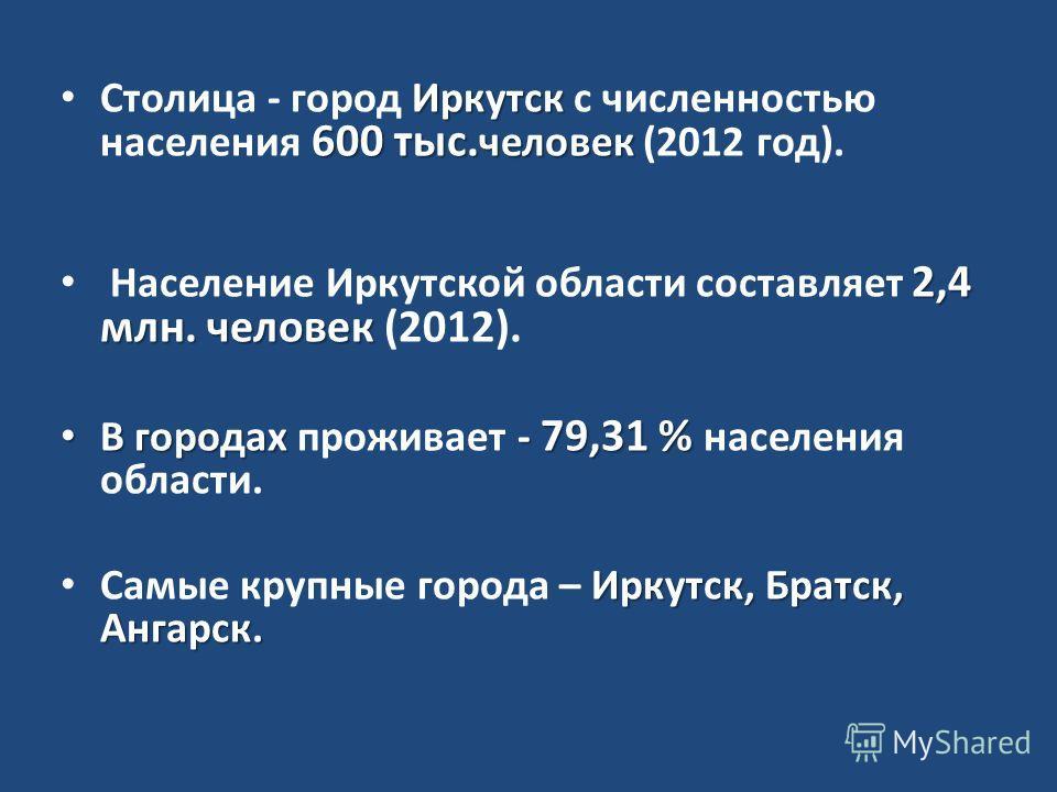 Иркутск 600 тыс. человек Столица - город Иркутск с численностью населения 600 тыс. человек (2012 год). 2,4 млн. человек Население Иркутской области составляет 2,4 млн. человек (2012). В городах - 79,31 % В городах проживает - 79,31 % населения област