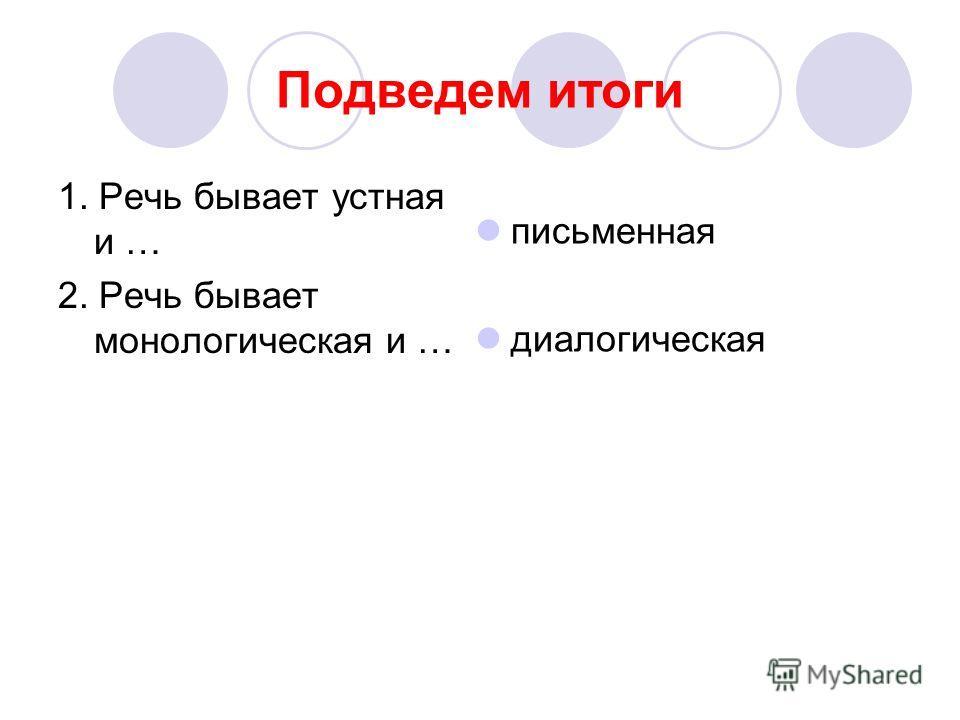Подведем итоги 1. Речь бывает устная и … 2. Речь бывает монологическая и … письменная диалогическая