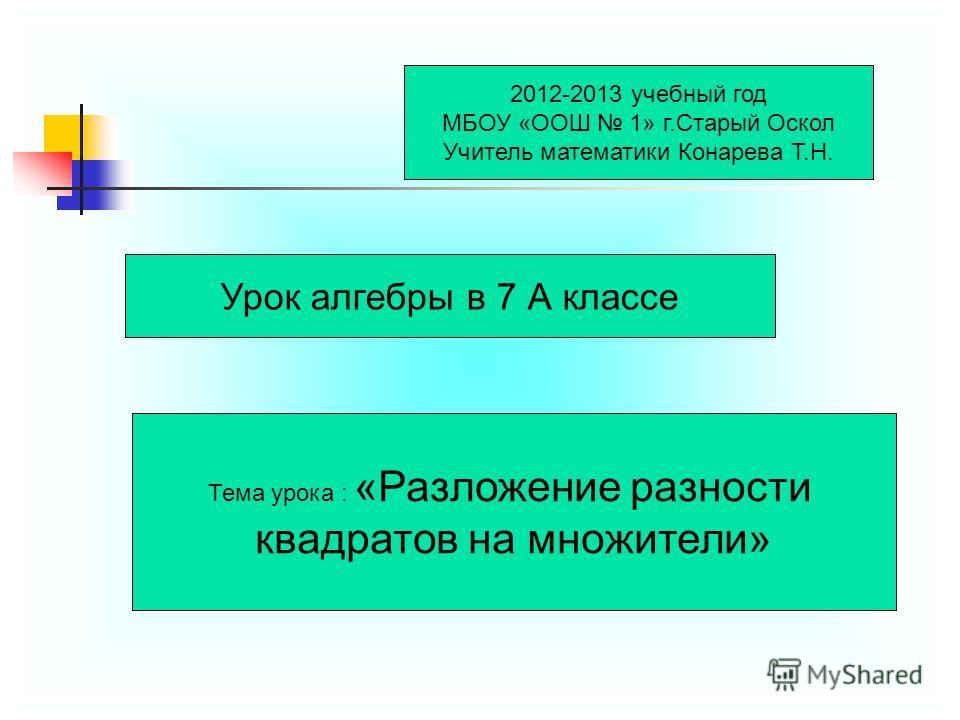 2012-2013 учебный год МБОУ «ООШ 1» г.Старый Оскол Учитель математики Конарева Т.Н. Урок алгебры в 7 А классе Тема урока : «Разложение разности квадратов на множители»